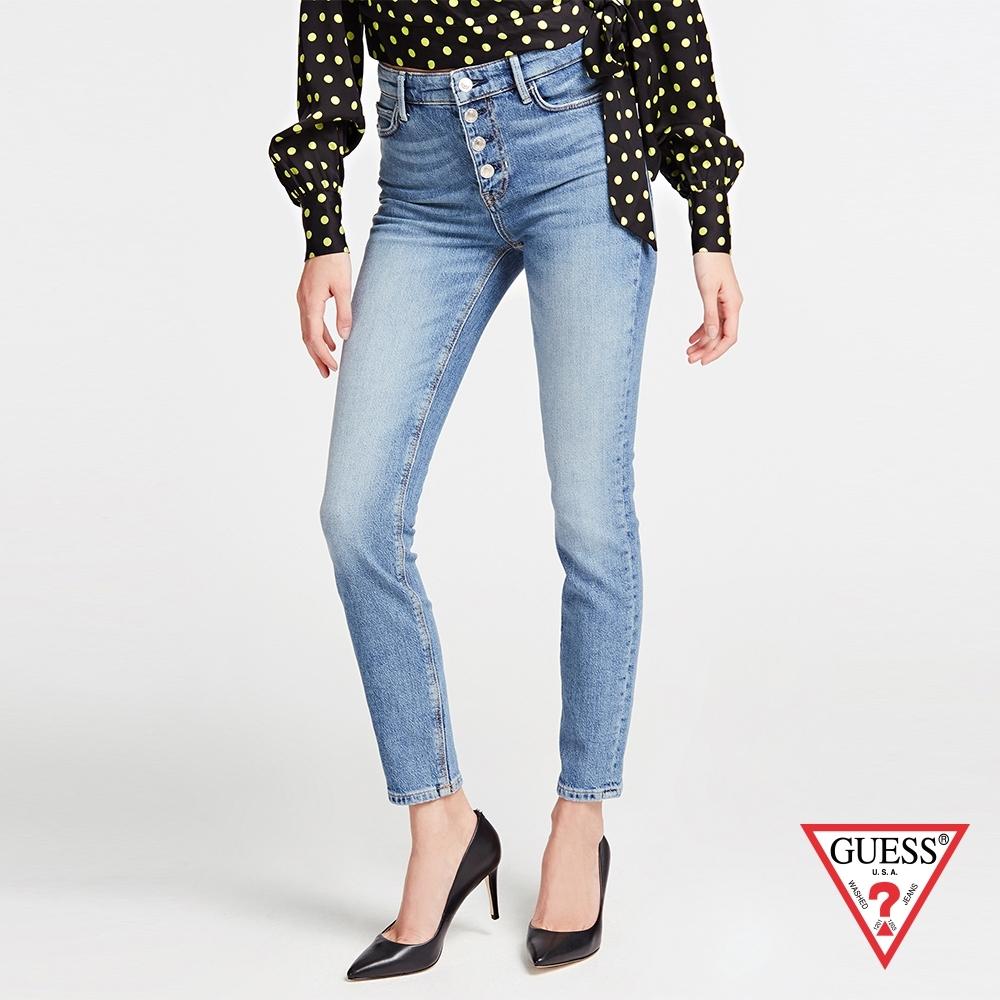 GUESS-女裝-緊身窄管排扣高腰牛仔長褲-藍 原價2990