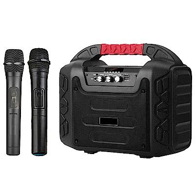 大聲公樂福型無線式多功能行動音箱/喇叭 (雙手持麥克風組)