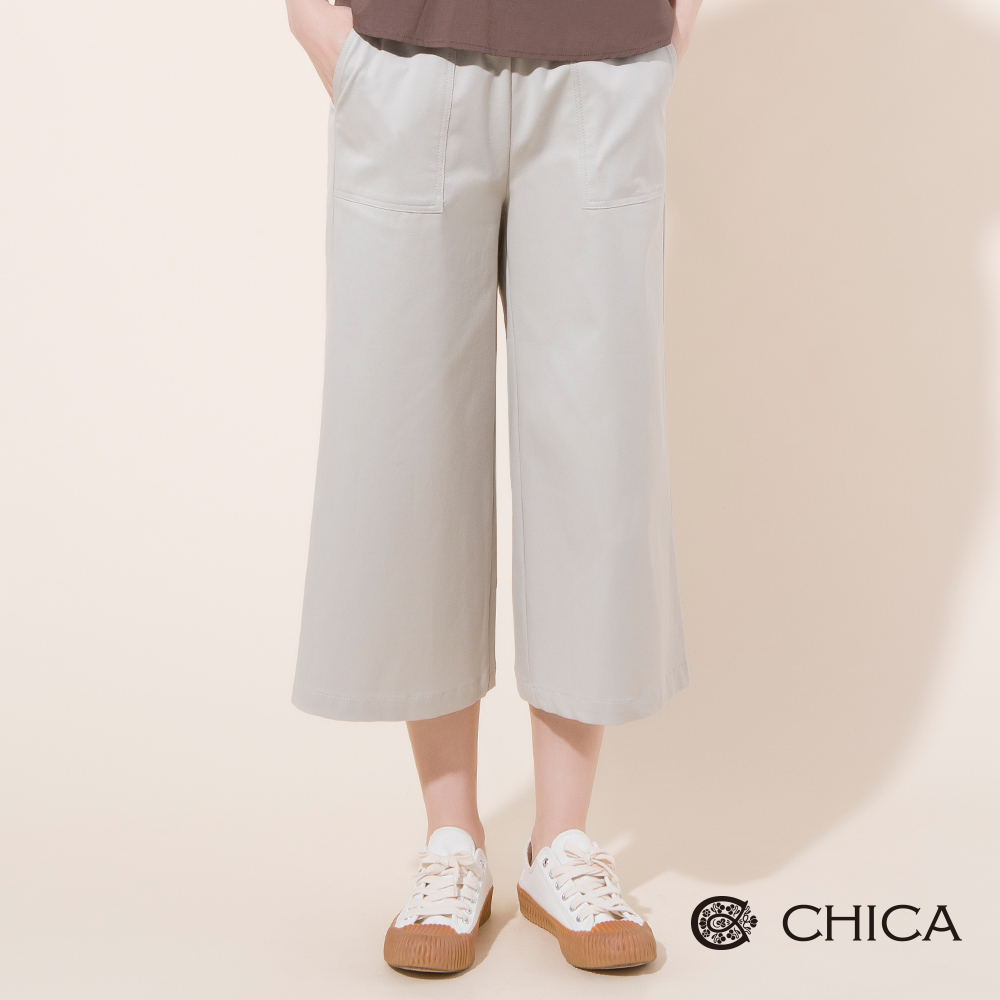 CHICA 自在女孩縫線大口袋八分寬褲(2色)