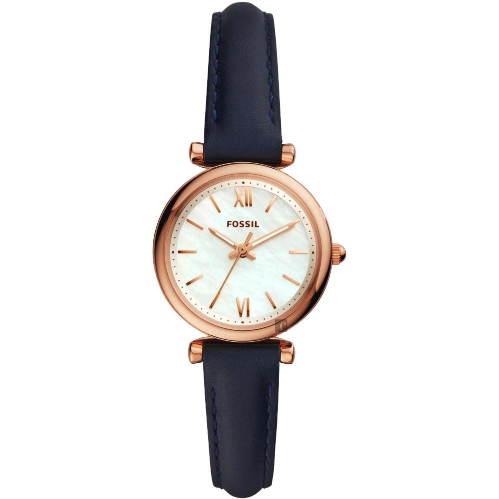 FOSSIL 愛在羅馬時尚女錶(ES4502)-珍珠貝x藍色錶帶/28mm