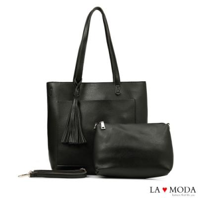La Moda 大容量流蘇綴飾多背法托特包子母包(黑)