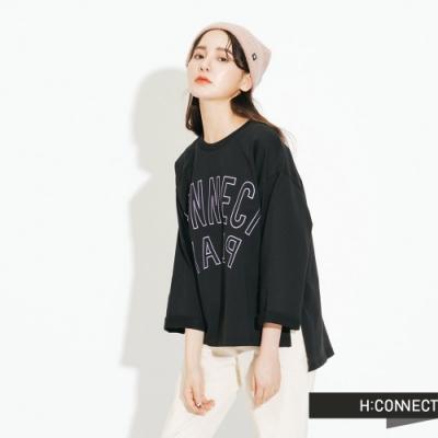 H:CONNECT 韓國品牌 女裝-logo印字五分袖上衣-黑
