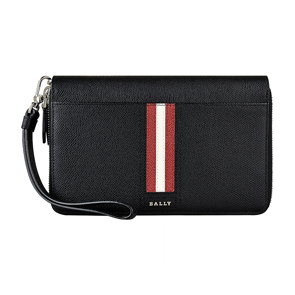 BALLY Tinger金屬LOGO紅白紅條紋設計牛皮29卡雙拉鍊手拿長夾(黑)