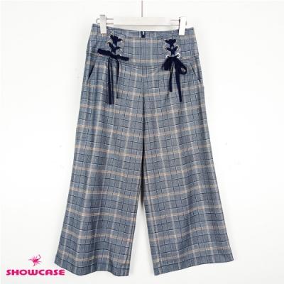 【SHOWCASE】俐落都會寬版腰顯瘦綁帶格紋七分寬褲-藍