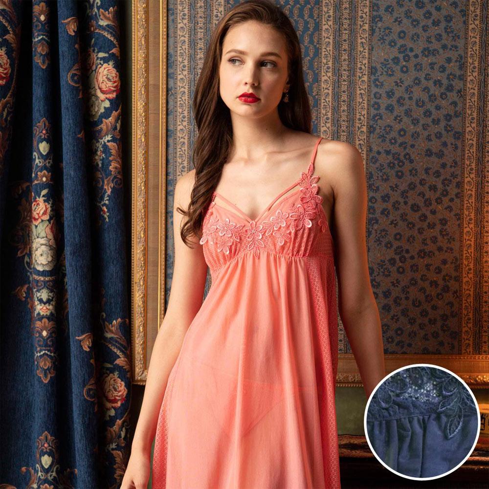 華歌爾睡衣-魅惑魔幻薄網紗 M-L 一件式裙款(深藍)性感系列