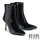 短靴 HELENE SPARK 時髦異材質交叉繫帶尖頭美型高跟短靴-黑 product thumbnail 1