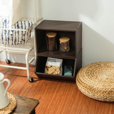 樂嫚妮 收納櫃/置物櫃/玩具櫃/空櫃-2入組-深胡桃木色