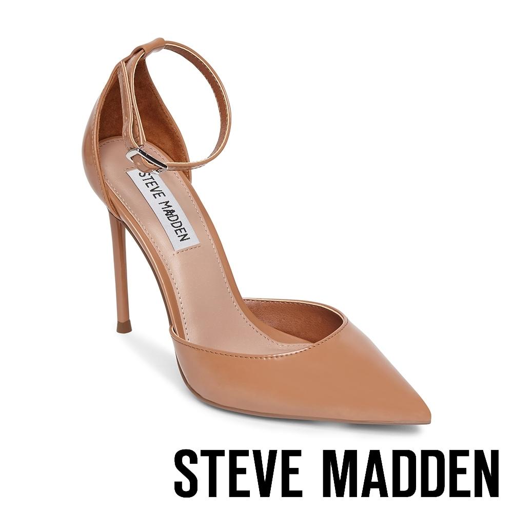 STEVE MADDEN-VOLT 時尚款 繞踝尖頭細跟高跟女鞋-卡其色
