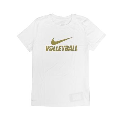 Nike T恤 Volleyball Tee 女款 運動休閒 吸濕排汗 DRI-FIT 圓領 白 金 561423100VB70