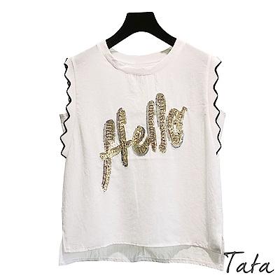 亮片字母貼布上衣 TATA