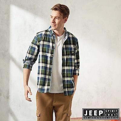JEEP 雙色格紋滾邊長袖襯衫-藍綠格紋
