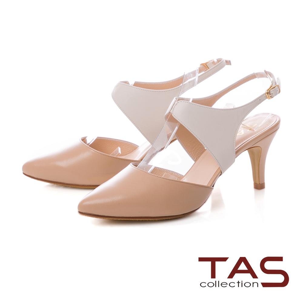 TAS 素面拼接鏤空尖頭高跟涼鞋-焦糖奶茶