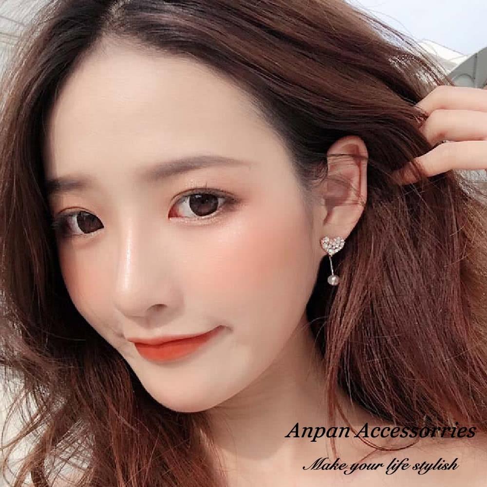 【ANPAN愛扮】韓東大門水鑽珍珠愛心滿溢925銀耳釘式耳環