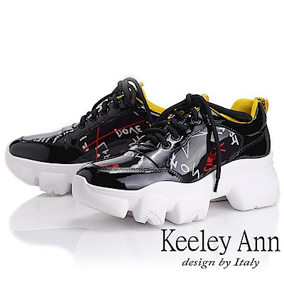 Keeley Ann 輕運動潮流 字母膠片戰車底防滑休閒鞋(黑色-Ann)