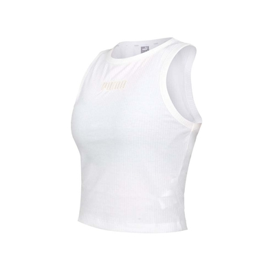 PUMA 女基本系列MODERN BASICS羅紋休閒背心-歐規 無袖上衣 運動背心 58593102 白淺橘