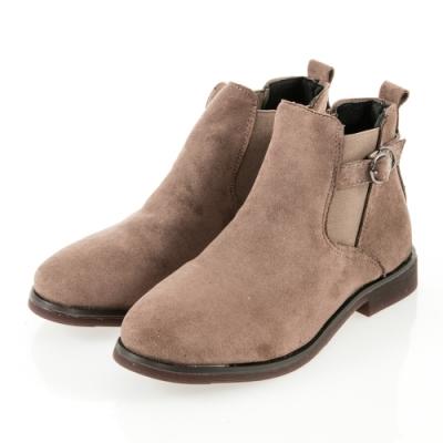 JMS-簡約率性風側扣環鬆緊拼接踝靴-棕色
