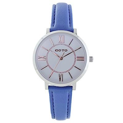 GOTO浪漫小資女精品時尚手錶-白x藍皮/33mm