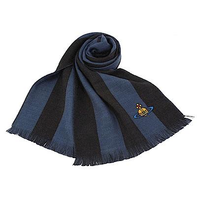 Vivienne Westwood 行星LOGO雙色條紋羊毛圍巾-藍色