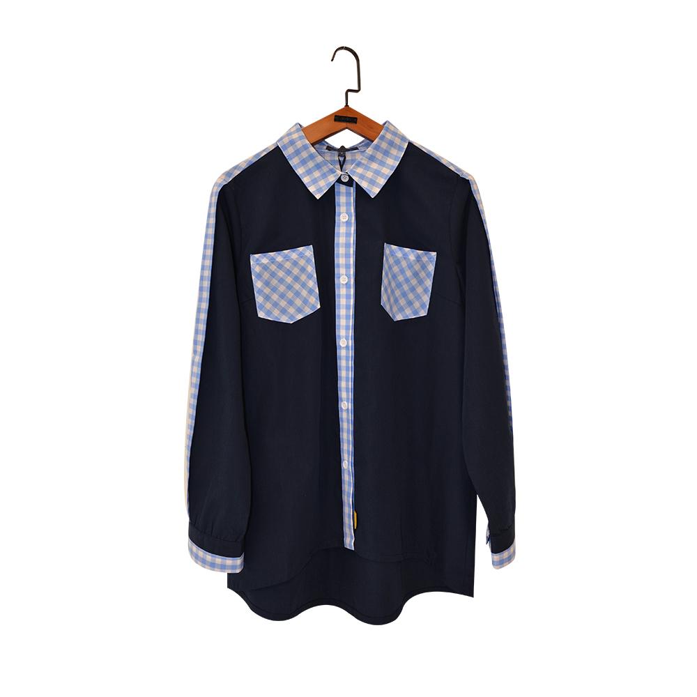 gozo 格紋拼接邊條造型襯衫(二色)