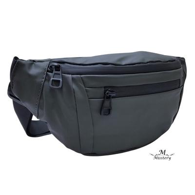 【Misstery】熱賣追加款,PU防潑水腰包斜背側背包-綠(01091GN)