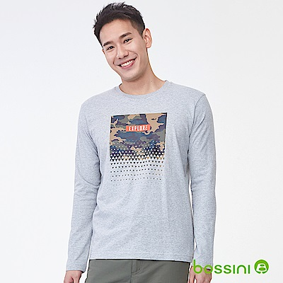 bossini男裝-印花長袖T恤05淺灰