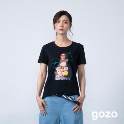 gozo 創意另類名畫系列不規則下擺上衣(黑色)