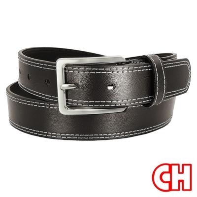 CH-BELT風格設計雙車線情侶款中性百搭休閒皮帶腰帶(咖)