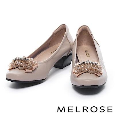 低跟鞋 MELROSE 華麗優雅水鑽蝴蝶結全真皮方頭低跟鞋-米
