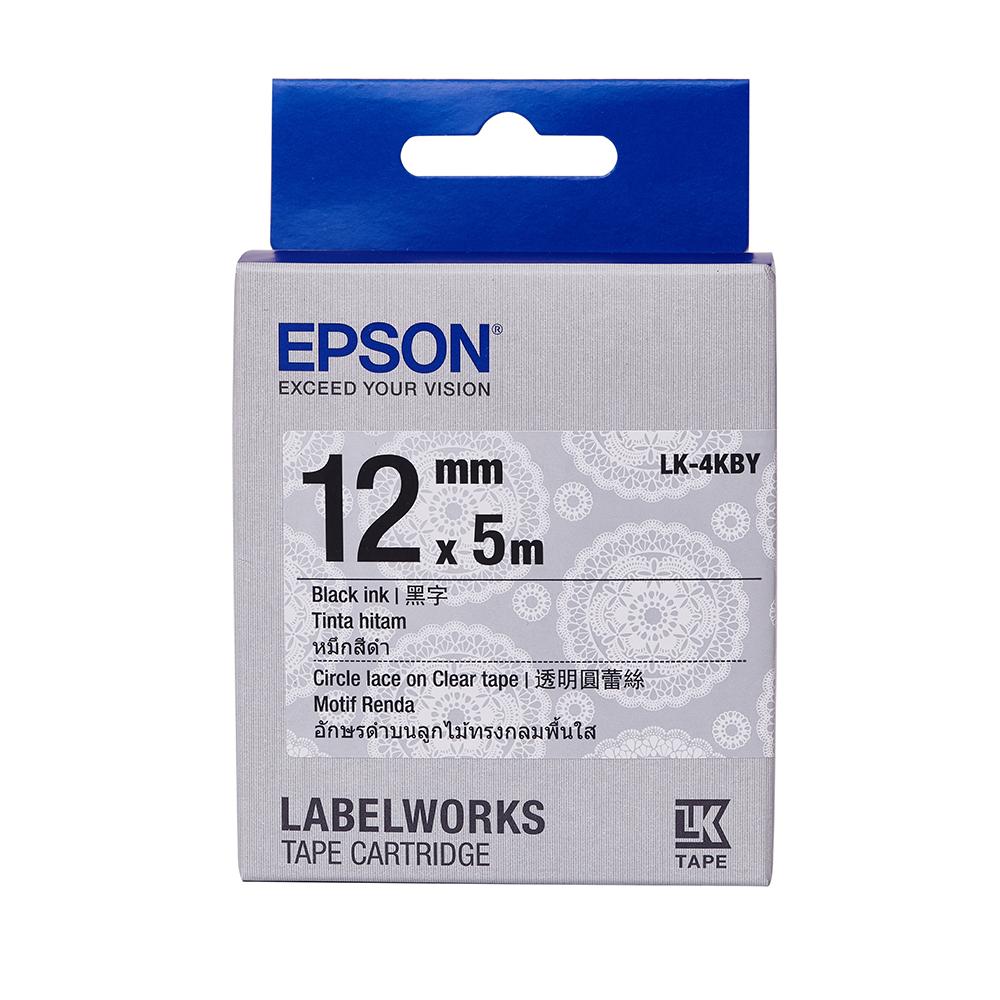 EPSON LK-4KBY Pattern系列透明圓蕾絲底黑字標籤帶(寬度12mm)