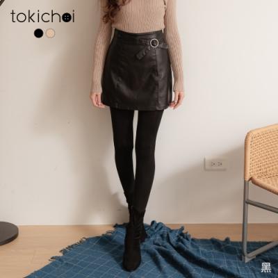東京著衣 率性中甜美造型釦雙口袋A字皮裙/短裙-S.M.L