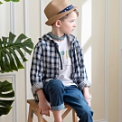 PIPPY 經典格紋連帽外套 藍