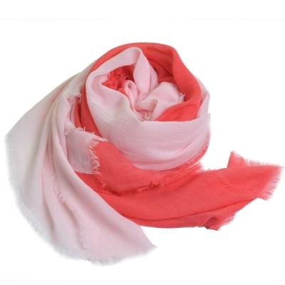 ARMANI JEANS 義大利製大字母LOGO圖騰高質感薄造型圍巾(粉紅/桃紅系)