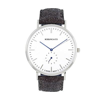 Rossling&Co. 加拿大品牌 單眼系列 白錶盤x銀錶框黑灰毛呢錶帶40mm