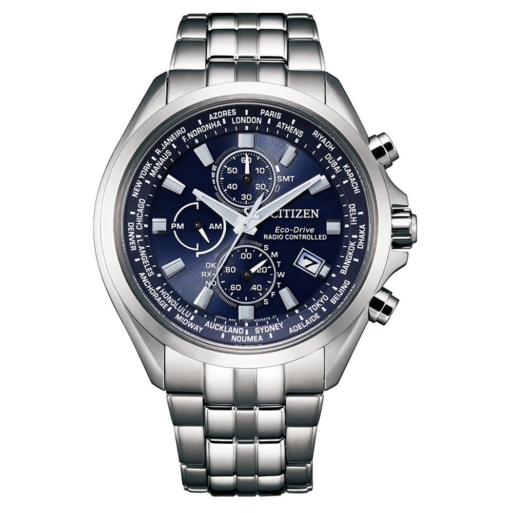 CITIZEN Eco-Drive 奇幻旅程時尚電波腕錶-銀X藍-AT8200-87L-44mm