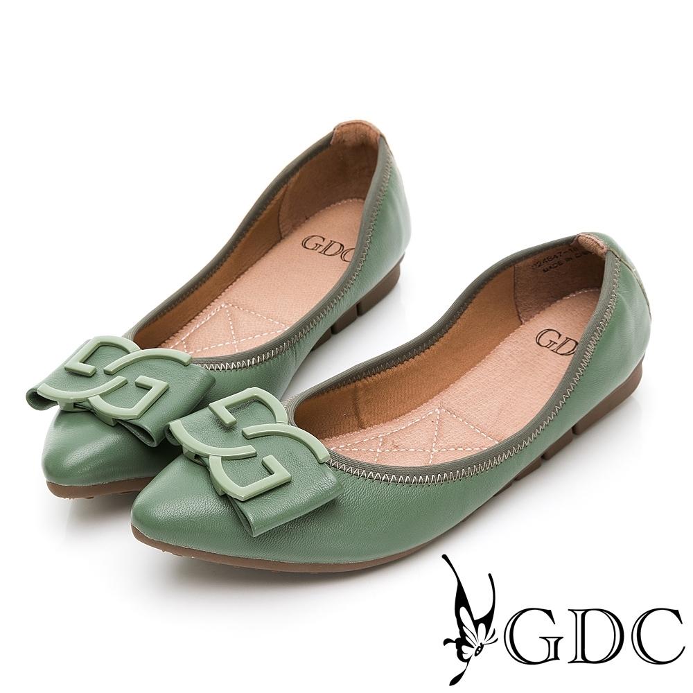 GDC-真皮歐美時尚蝴蝶結尖頭平底鞋-綠色