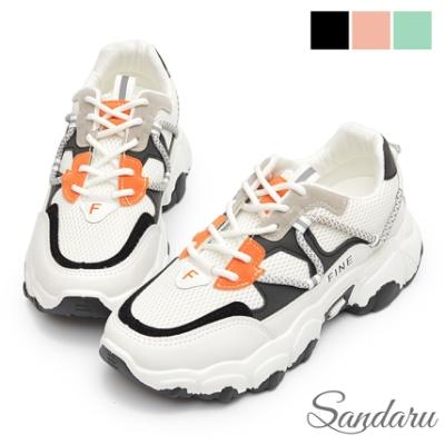 山打努SANDARU-老爹鞋 FINE反光拼色心機增高厚底鞋-黑