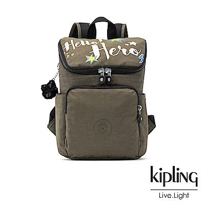 Kipling 低調深褐軍綠字母印花拉鍊掀蓋後背包(小)-BLAKENEY S