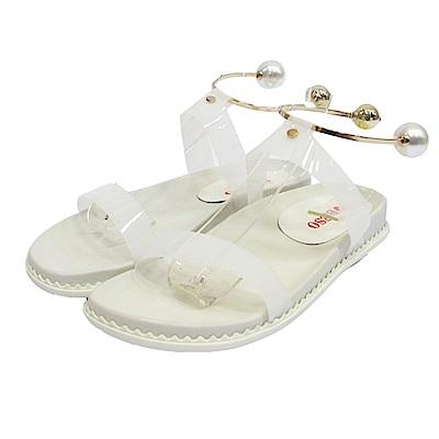 BESO  珍珠魔力 金屬珍珠繞踝平底涼鞋~白