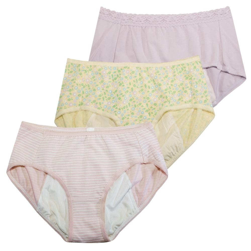 黛安芬-柔棉生理褲內褲 M-EL 繽紛三色包