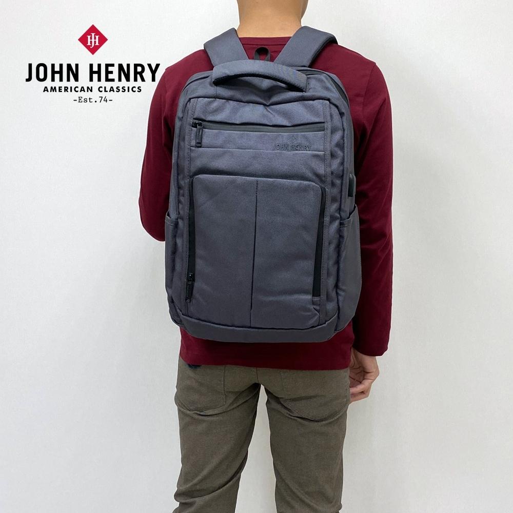 【JOHN HENRY】商務百搭防潑水電腦後背包-灰