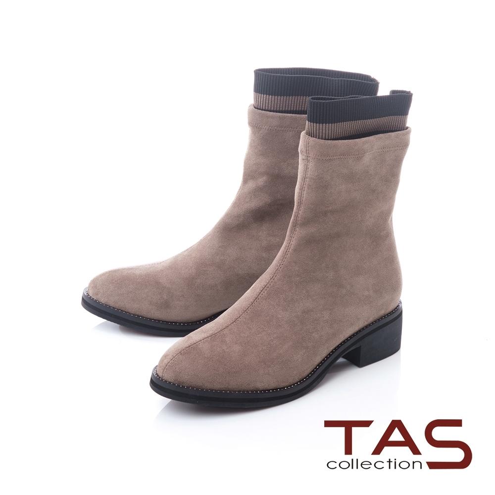 TAS素面絨布拼接水鑽襪靴-低調灰