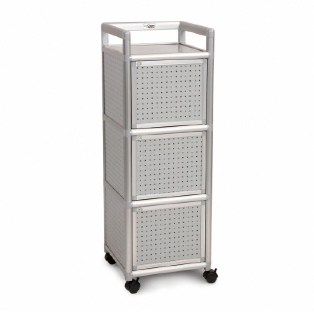 Cabini小飛象-黑花格1.2尺鋁合金三門收納櫃40.1x41.1x115.3cm