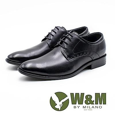 W&M 真皮縫線造型綁帶皮鞋 男鞋 -黑(另有棕)