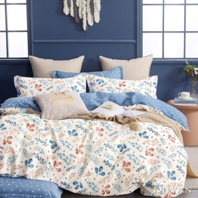 DUYAN竹漾-100%精梳純棉-單人三件式舖棉兩用被床包組-梧桐暖葉 台灣製