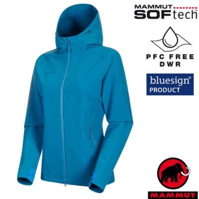 長毛象 女新款 SOFtech防風防潑水透氣耐磨軟殼外套_藍寶石