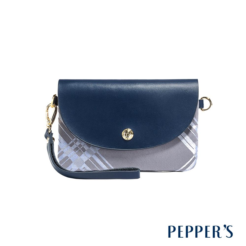 PEPPER`S Diamond 綾格紋緹花手拿包 - 午夜藍