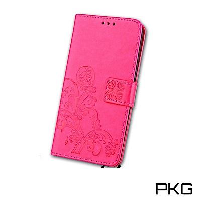 PKG 紅米6 側翻式皮套-精選皮套系列-幸運草-玫紅