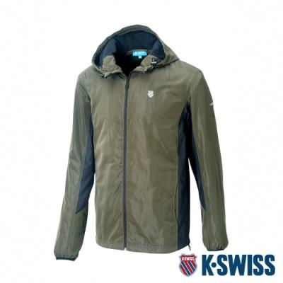 K-SWISS Contrast Panel 刷毛風衣外套-男-深綠/黑