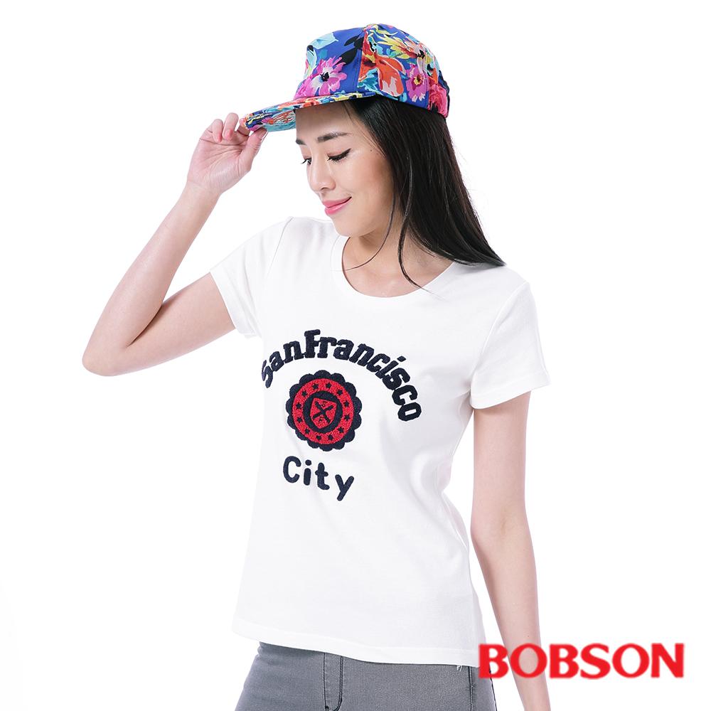 BOBSON 女款毛巾繡T恤