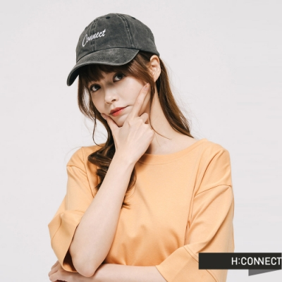 H:CONNECT 韓國品牌 配件 -草寫後鬆緊棒球帽-黑